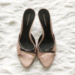 BCBG MAXAZRIA Pink Satin with Bow Slides Heel